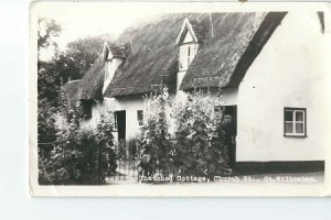 An old thatched cottage, black & white
