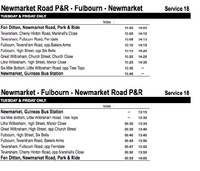 Bus timetable for Newmarket Road P&R to Fulbourn - Newmarket and back