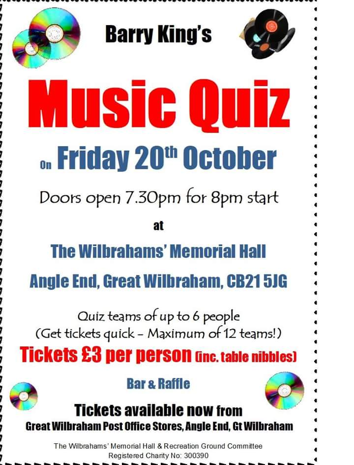 Music Quiz @ Wilbrahams'Memorial Hall