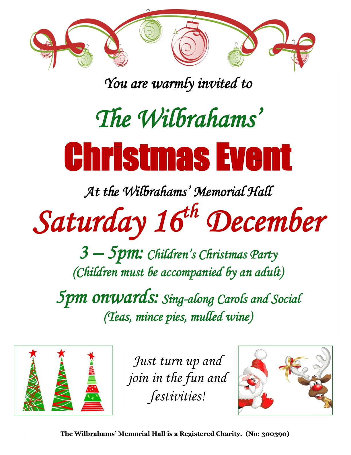 Wilbrahams' Christmas Event:Children's Christmas Party @ Wilbrahams'Memorial Hall