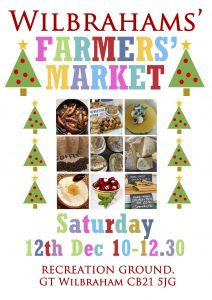 Poster with information about the Wilbrahams' Farmers' Market on 12th December from 10-12.30