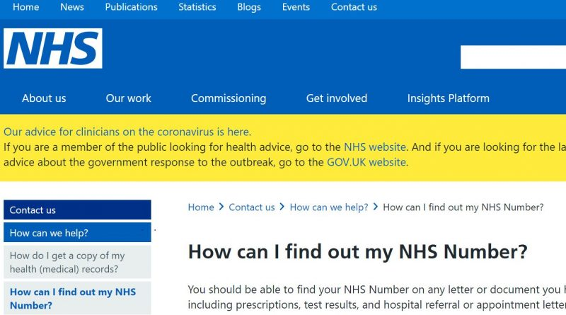Finding out your NHS Number