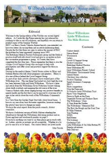 Page 1 of the Spring 2021 Wilbrahams' Warbler