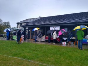 Residents undeterred by the downpour