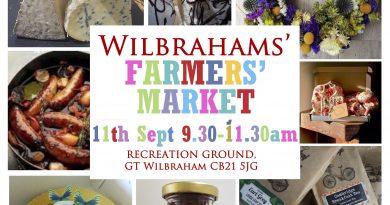 Next Wilbrahams' Farmers' Market on Saturday 11th September