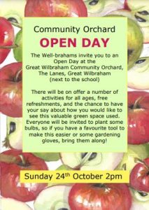 Image of poster promoting the Community Orchard Open Day. Text over apple background