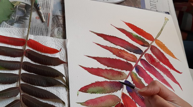 Image of watercolour leaf painting