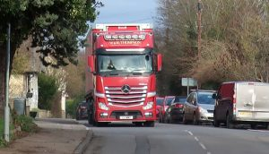 Image of lorry and parked cars on High Street, Great Wilbrham
